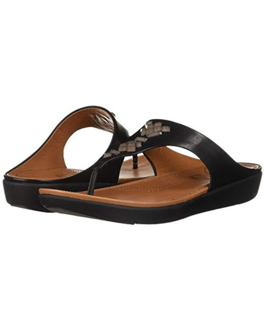 a7399fb49a175 ... Fitflop - Black Banda Leather Toe-thong Sandals-crystal Slide - Lyst ...