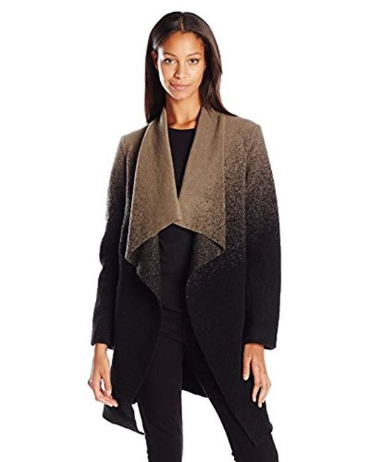 BB Dakota - Black Kinney Ombre Drape Front Coat - Lyst