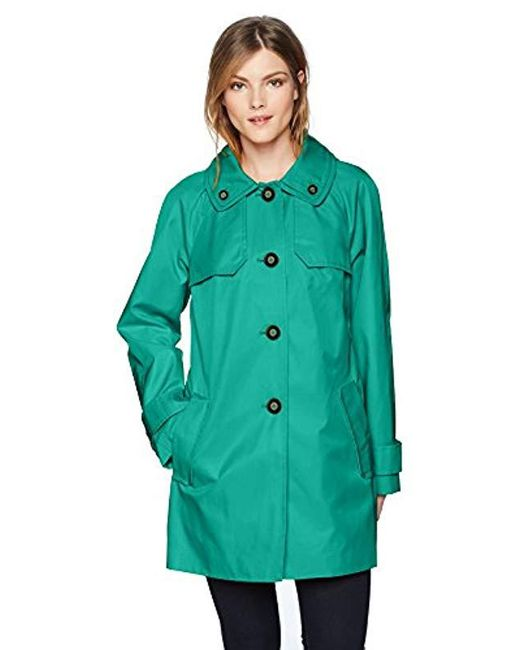 London Fog - Green Double Shoulder Flap Rain Coat - Lyst