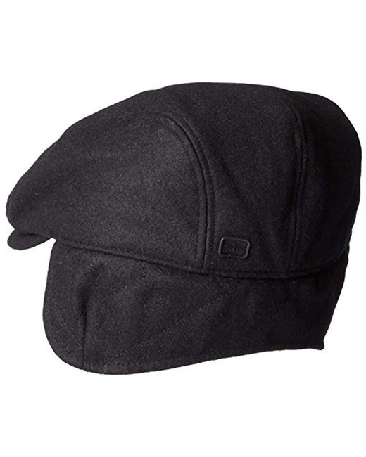 ... Dockers - Black Solid Melton Hat With Fold-down Ear Flaps for Men - Lyst ba838ac91fb9