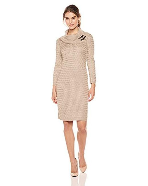 Calvin Klein - Natural Waffle Knit Turtleneck Sweater Dress, - Lyst
