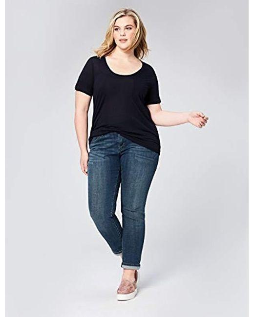 a453d4c74 ... Daily Ritual - Blue Plus Size Super Soft Modal Semi-sheer Pocket  T-shirt ...