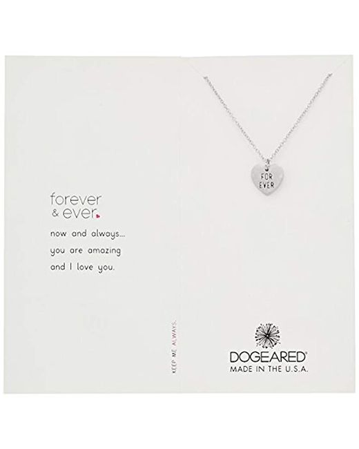 """Dogeared - Metallic Reminder Forever And Ever For Ever Engraved Heart Charm Chain Necklace, 16"""" + 2"""" Extender - Lyst"""
