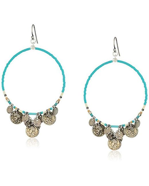Chan Luu - Multicolor Turquoise Mix Coin Hoop Earrings - Lyst