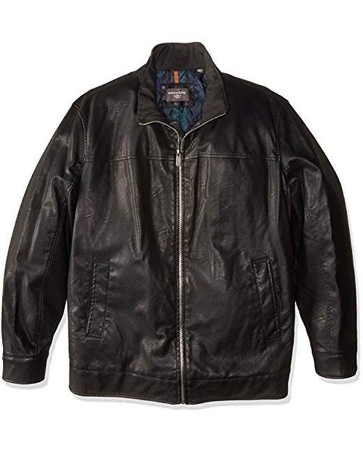 Dockers - Black Size Tall Lamb Touch Faux Leather Stand Collar Jacket for Men - Lyst