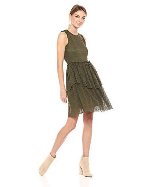 Vero Moda Green Fay Sleeveless Ruffle Tiered Dress