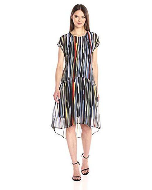 Anne Klein - Black Dropped Waist Printed Georgette T-shirt Dress - Lyst