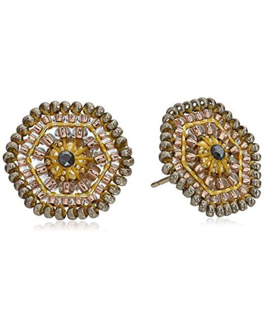 Miguel Ases - Multicolor Blush Swarovski Center Hexagon Stud Earrings - Lyst