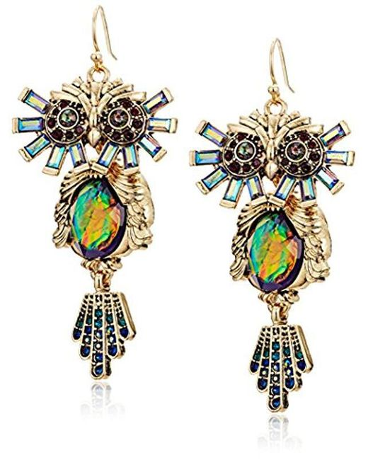 Betsey Johnson - Multicolor Surreal Forest Colorful Owl Drop Earrings - Lyst