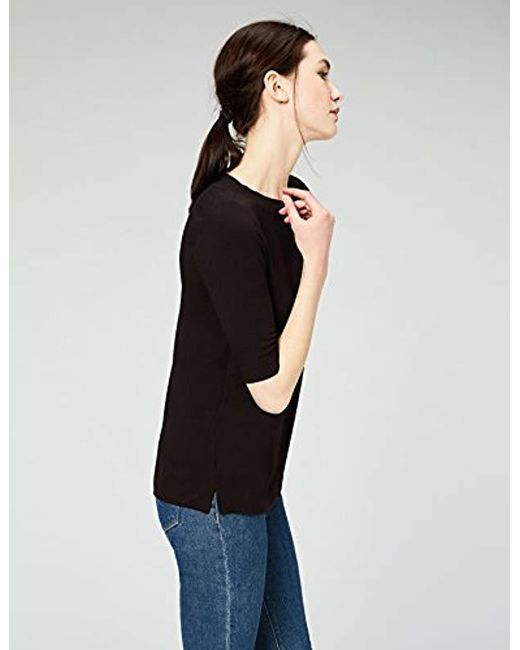 240a834178 ... Daily Ritual - Black Rib Knit Jersey Elbow-sleeve Boat Neck Shirt -  Lyst ...