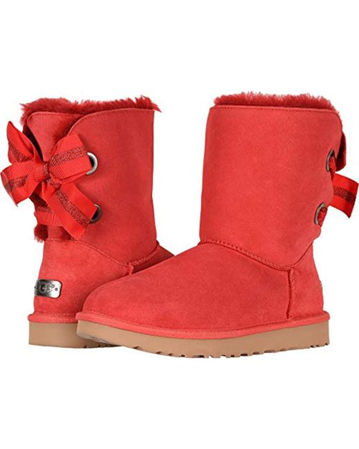 Ugg - Red W Customizable Bailey Bow Short Fashion Boot - Lyst ...