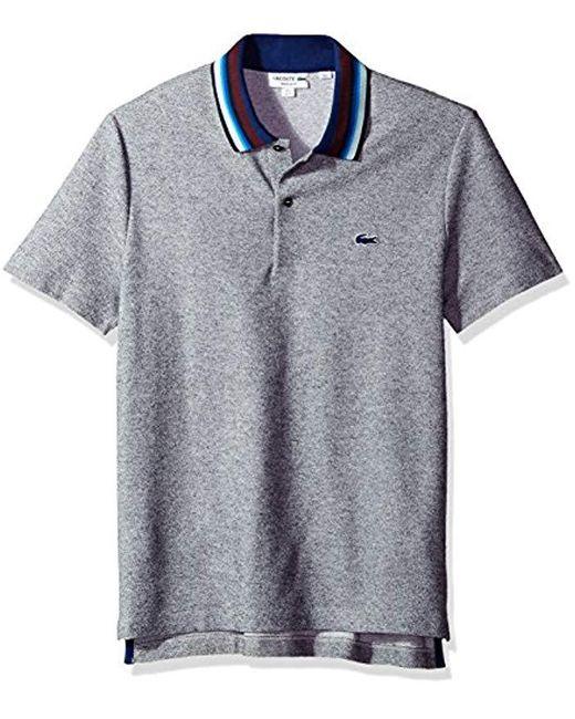 5d263e05 Lacoste. Men's Blue Holiday Short Sleeve Slubbed Pique Polo-regular Fit