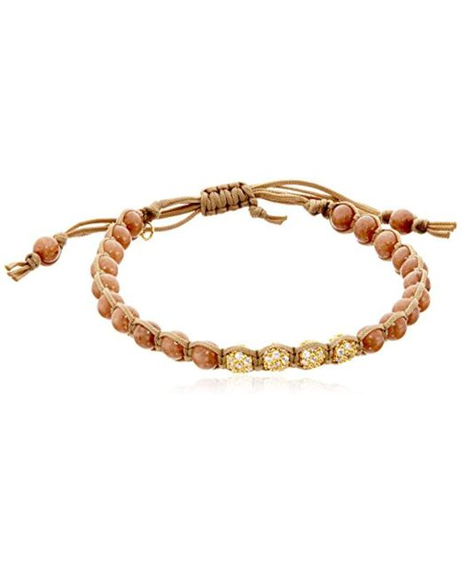 Tai - Brown Beads With Four Gold Crystal Bracelet - Lyst