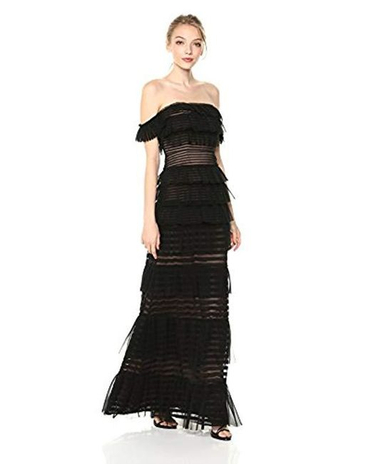 Lyst - Bcbgmaxazria Elora Off-the-shoulder Lace Gown in Black