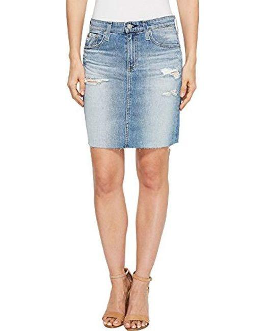 e6d656177ac AG Jeans - Blue Denim Erin Pencil Skirt - Lyst ...