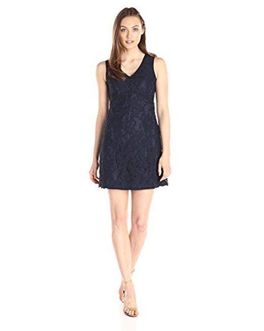 Lark & Ro - Blue Sleeveless Chunky Lace A-line Dress - Lyst