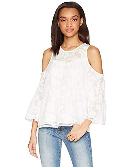 11fc692d059f46 Lyst - Lucky Brand Cold Shoulder Top in White - Save 55%