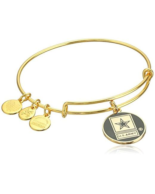Alex And Ani Metallic Armed Forces Us Army Expandable Wire Bangle Charm Bracelet Lyst