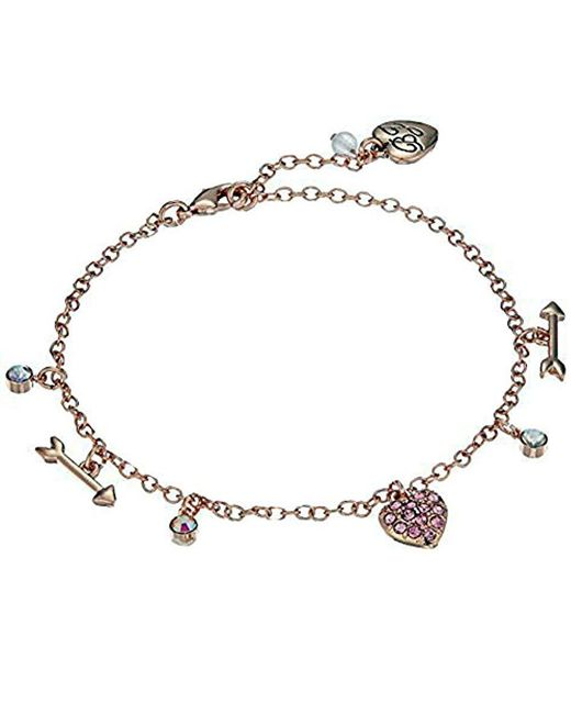 Betsey Johnson - Multicolor S Fuchsia And Rose Gold Heart Anklet - Lyst