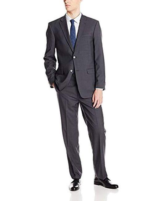 Tommy Hilfiger - Gray Grey Shadow Stripe 2 Button Side Vent Trim Fit Suit for Men - Lyst