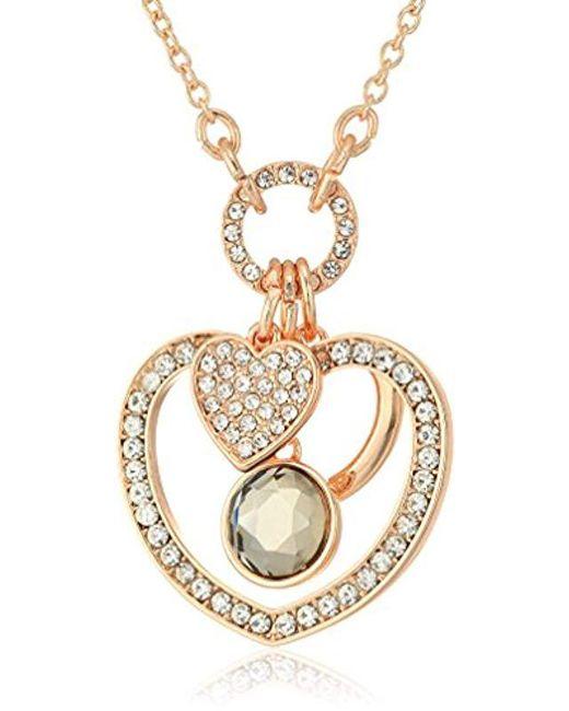 T Tahari - Metallic Rsg Cry Bdi Hrt Pendant Necklace, Rose Gold - Lyst