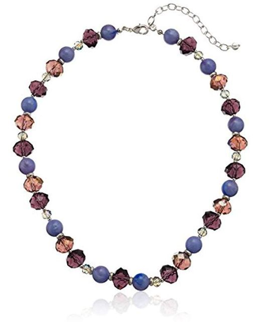 Napier - Silver-tone And Purple Beaded Collar Necklace - Lyst