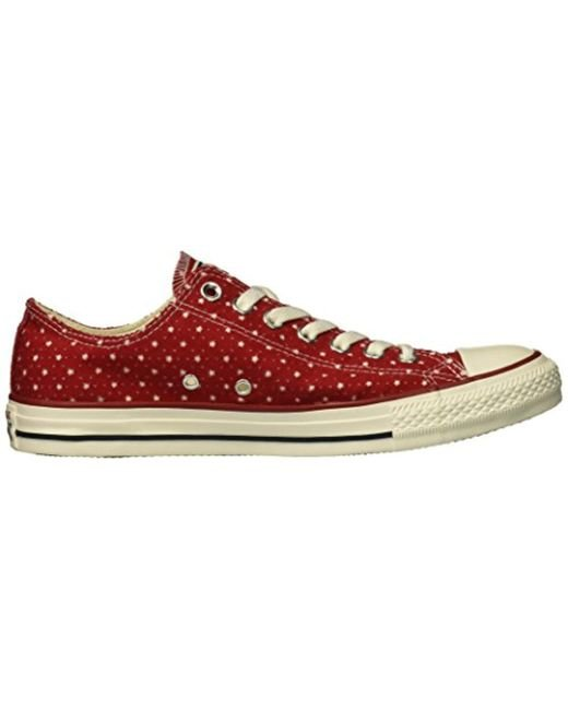 adf573466ff5bb ... Converse - Red Unisex Chuck Taylor Perforated Stars Low Top Sneaker for  Men - Lyst ...