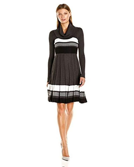 472b6f7fe61 Calvin Klein - Black Long-sleeve Cowl-neck Fit   Flare Sweater Dress ...