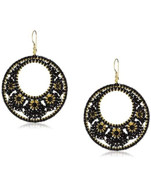 Miguel Ases - Black Quartz Floral Cluster Round Drop Earrings - Lyst