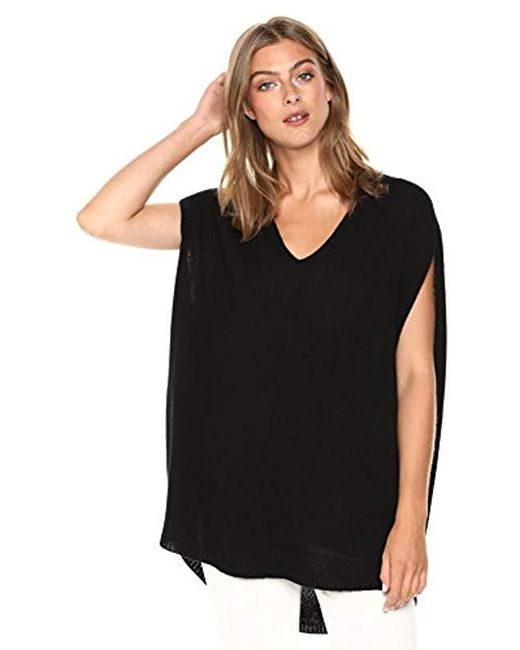 Theory - Black Sleeveless Vneck Cape Sweater - Lyst