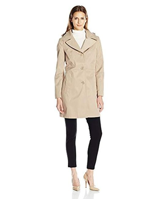 """Anne Klein - Natural 34"""" Mid Length A-line Single Breasted Raincoat - Lyst"""