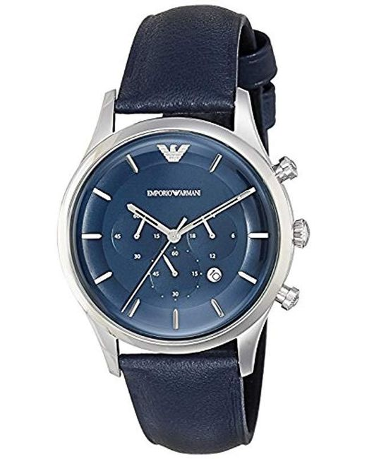805f5bc9c Emporio Armani - Lambda Stainless Steel Analog-quartz Watch With Leather  Calfskin Strap, Blue ...