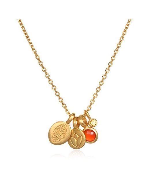 Satya Jewelry - Carnelian Gold Hamsa & Lotus Charm Pendant Necklace 18-inch, Orange, One Size - Lyst