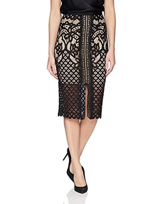 Keepsake - Black Bridges Lace High Waisted Illusion Midi Straight Skirt - Lyst