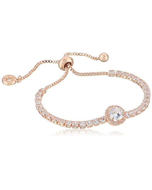 Anne Klein - Metallic Classics Rose Gold Pave Center Stone Slider Bracelet, One Size - Lyst
