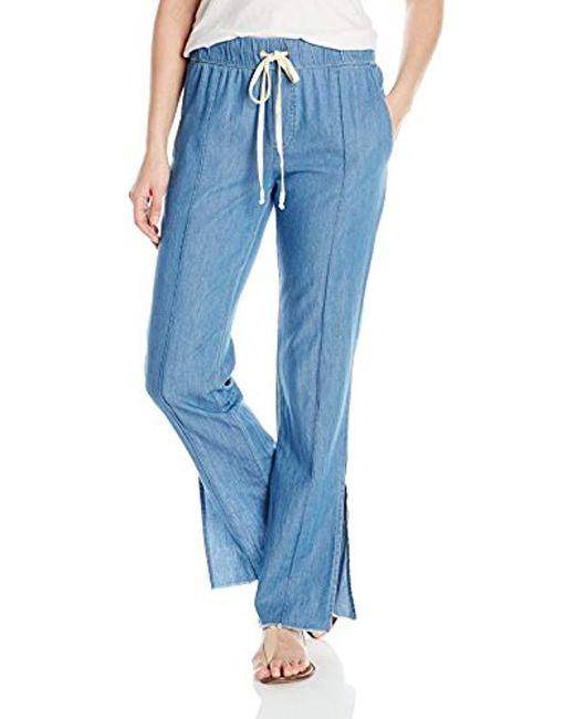 Enza Costa - Blue Pintuck Slim Trouser - Lyst