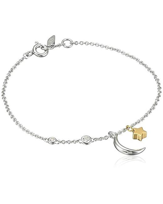 Fossil - Metallic S Chain Bracelet With Moon And Star Motif - Lyst