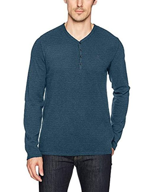 Calvin Klein - Blue Jeans Long Sleeve Waffle Layer Y-neck Henley for Men - Lyst
