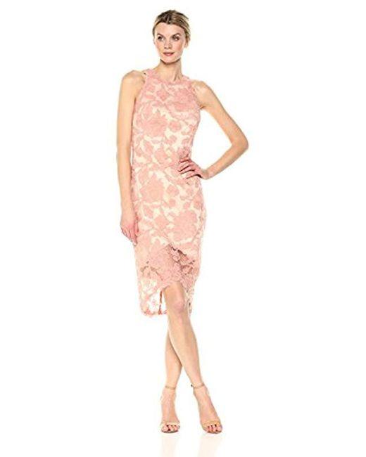 Tadashi Shoji - Pink Slvs Ebd Lace Dress - Lyst