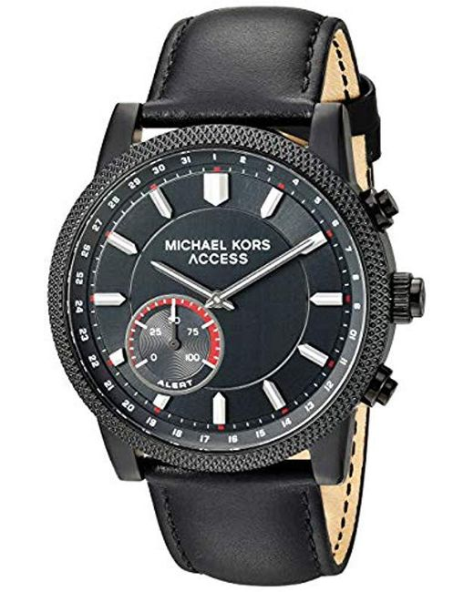 df3ff44978c6 Michael Kors - Access  hutton Hybrid Smartwatch  Quartz Stainless Steel And  Leather Casual Watch ...