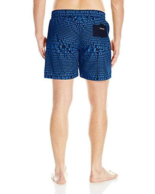 bb16f10205 ... DIESEL - Blue Wave All Over Logo 16inch Swim Trunk for Men - Lyst