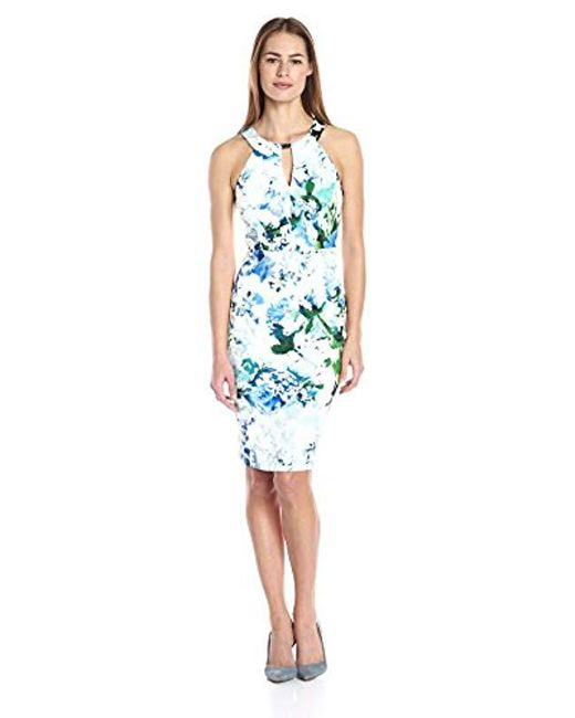 Calvin Klein - White Print Halter Dress With Bar Hardware - Lyst