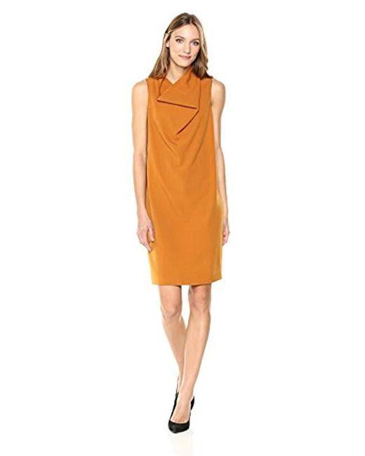 Anne Klein Multicolor Madison Crepe Cowl Neck Sheath Dress