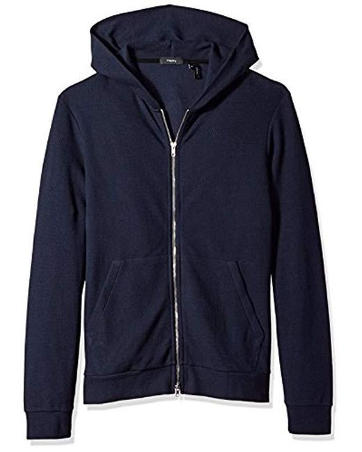 Theory - Blue Waffel Hoodie Long Sleeve for Men - Lyst