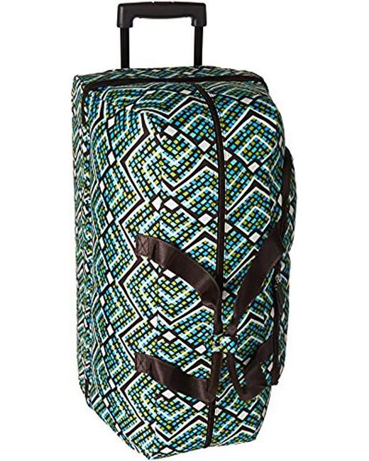 Vera Bradley - Green Lighten Up Large Wheeled Duffel, Polyester - Lyst ... 395d9aa585