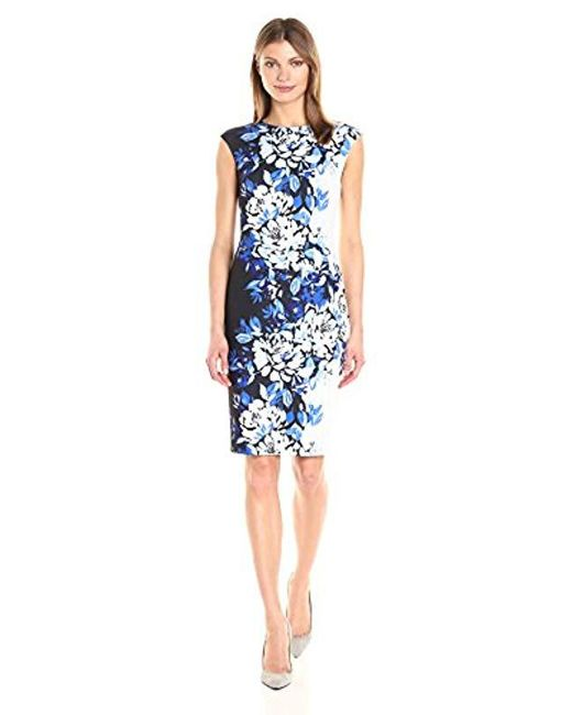 Vince Camuto - Blue Printed Scuba Crepe Bodycon Dress - Lyst