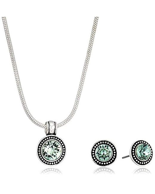 Napier - Metallic S Silver-tone Swarovski Necklace Earring Jewelry Set - Lyst