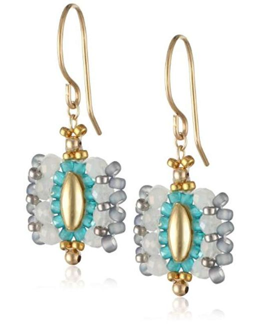 Miguel Ases - Blue Small Rice Bead Encased Opalite Miyuki Drop Earrings - Lyst