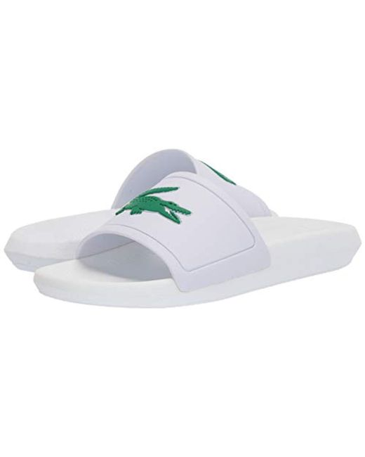 aeff04fa7f0 Lyst - Lacoste  s Croco Slide 119 3 Cfa Open Toe Sandals in White ...
