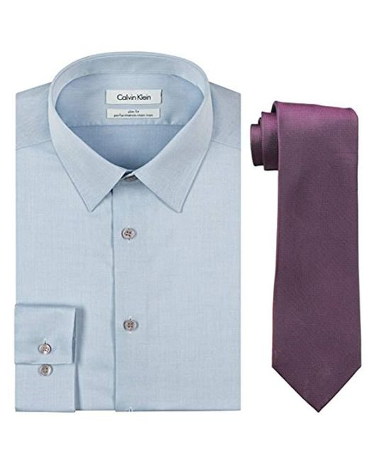 Calvin Klein - Blue Slim Fit Herringbone Dress Shirt And Silver Spun Tie Combo for Men - Lyst